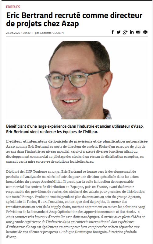 Nomination d'Eric BERTRAND dans Voxlog