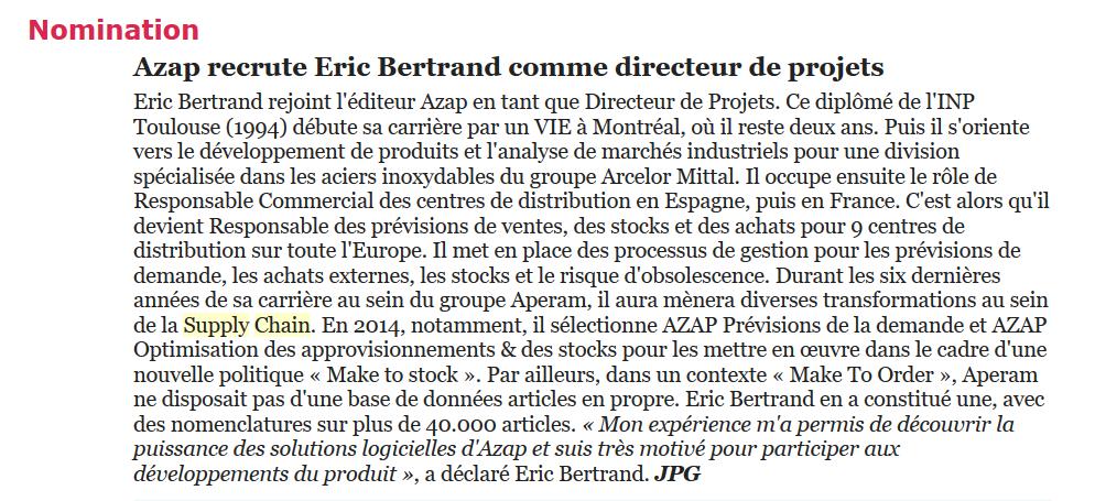 Nomination d'Eric Bertrand dans la Newsletter de Supply Chain Village