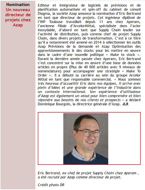 Nomination d'Eric BERTRAND dans la NL de Supply Chain Magazine